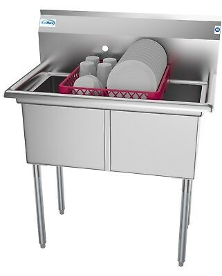2 Two Compartment NSF Stainless Steel Commercial Kitchen Prep & Utility Sink -