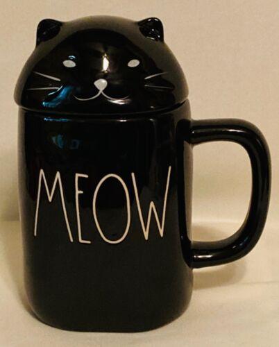 RAE DUNN HALLOWEEN BLACK CAT MEOW MUG & TOPPER from SCAREDY CAT - NEW!