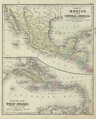 1879 Warren Map of Mexico, Central America and West
