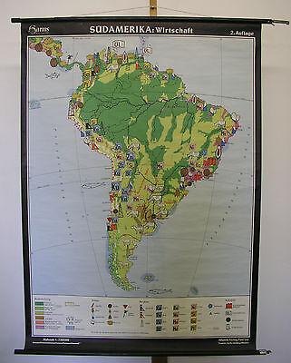 Schulwandkarte Wall Map America South Economy 99x137 ~ 1960