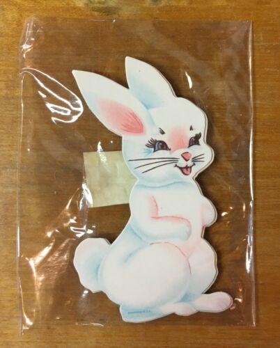 """Vintage Dennison Easter Bunny 3.5"""" Diecut Decoration Sealed Pack of 4"""
