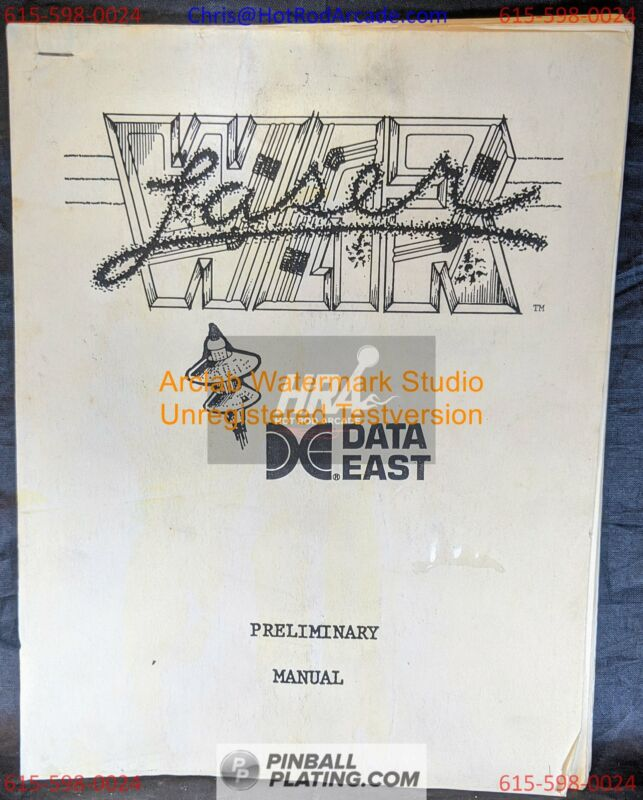 Laser War - Data East - Pinball Manual - Schematics - Instructions - Book