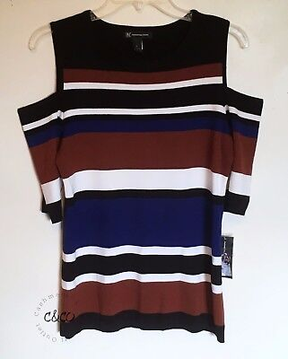 Inc International Concept Open Shoulder Square Neck Top Light Sweater Striped Xl