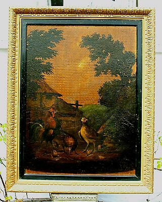 Superb C18th Old Master Dutch School Oil on Wood Panel - Chickens in a Yard