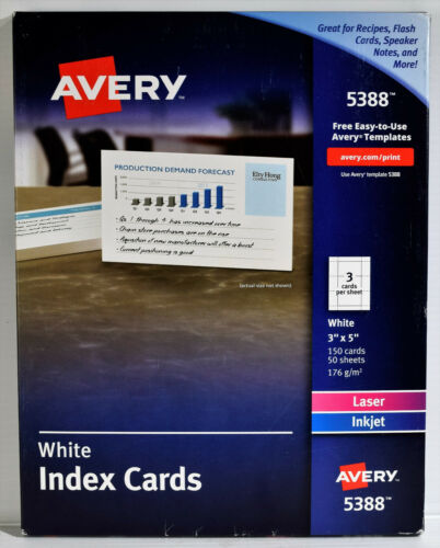 "NEW AVERY 5388 Laser Inkjet 150 (50 Sheets) White 3"" x 5"" Perforated INDEX CARDS"