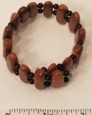 - Genuine Stone Bracelet On Stiff Memory wire Goldstone Black Onyx alternating