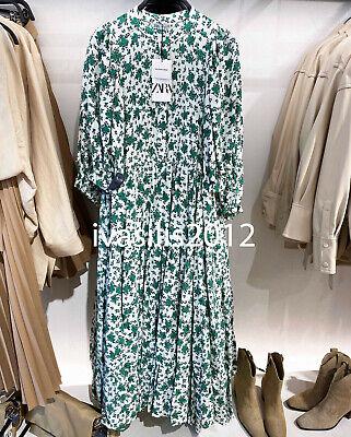 ZARA NEW WOMAN LONG FLORAL PRINT DRESS RUFFLE OYSTER WHITE GREEN XS-XXL 4786/070