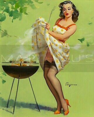 Gil Elvgren-Smoke Screen, Canvas/Paper Print, Pinup Girl (Screen Print Paper)