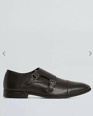 Burton Brand New Size 9 Black Leather Monk Shoes Was £39.99