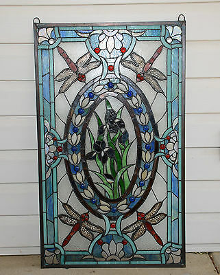 stained glass Jeweled window panel Dragonfly & Iris Flowers, 20.5