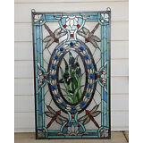 "stained glass Jeweled window panel Dragonfly & Iris Flowers, 20.5"" x 34.75"""