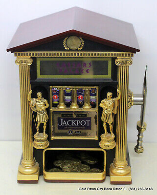 Official Caesars Palace Jackpot Slot Machine/Bank W/17 Coins