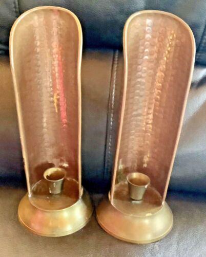 Primitive Hammered Copper Brass Candlestick Candle Holder Reflector VTG pair