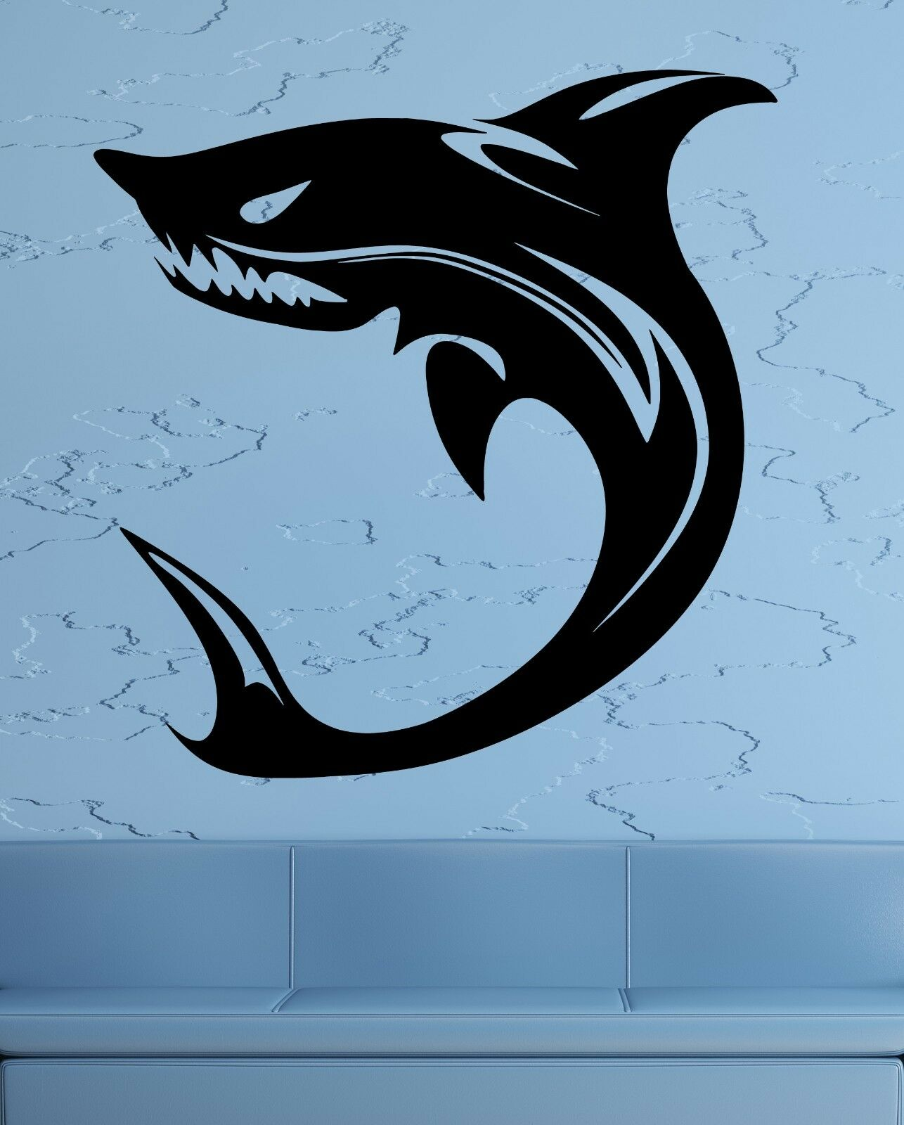 Wall decals stickers home decor home furniture diy wall stickers vinyl decal shark predator ocean sea marine tribal decor ig1834 amipublicfo Choice Image