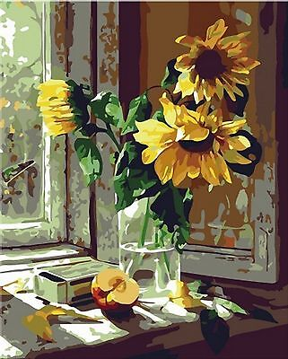 Diy Painting Paint By Number Kit- Warm sunflower 16x20 inch Frameless