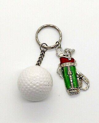 Vintage Golf Bag and Golf Ball Keyring Keychain