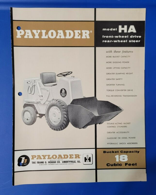 Model HA International Harvester Hough Payloader Vintage Brochure