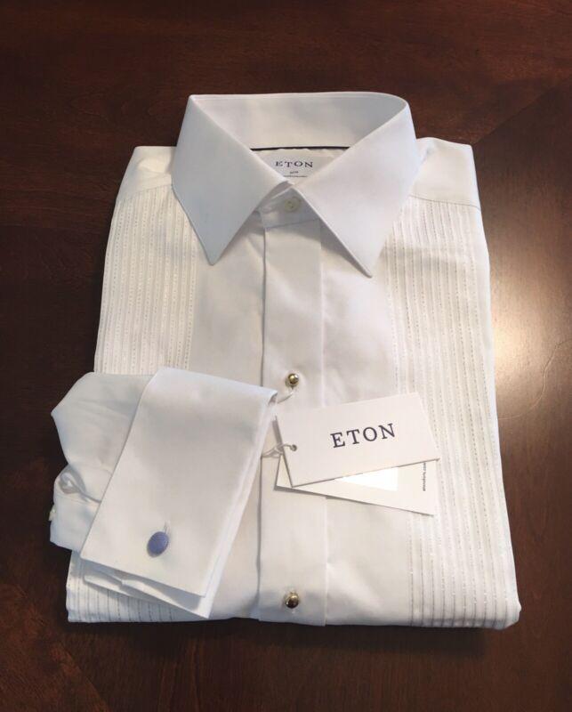 $290 Eton 15.5 39 Men's Tuxedo Dress Shirt Slim Fit French Cuffs Gold Buttons