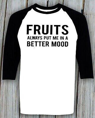 Fruits Lover T shirt Vegetarian Vegan Humor Sarcastic Gift Idea Christmas Raglan ()