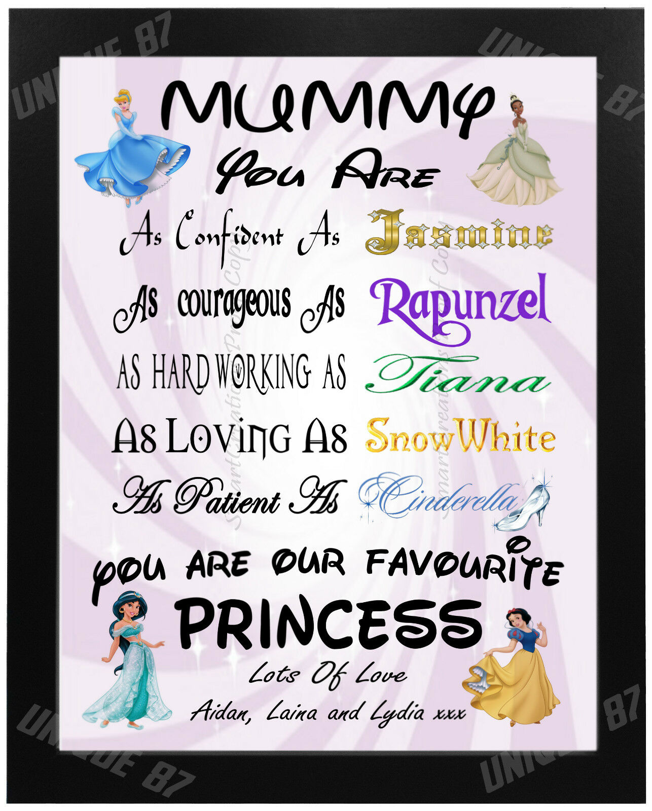 Personalised PRINCESS Birthday Gift Mum Mummy Nanny Auntie P
