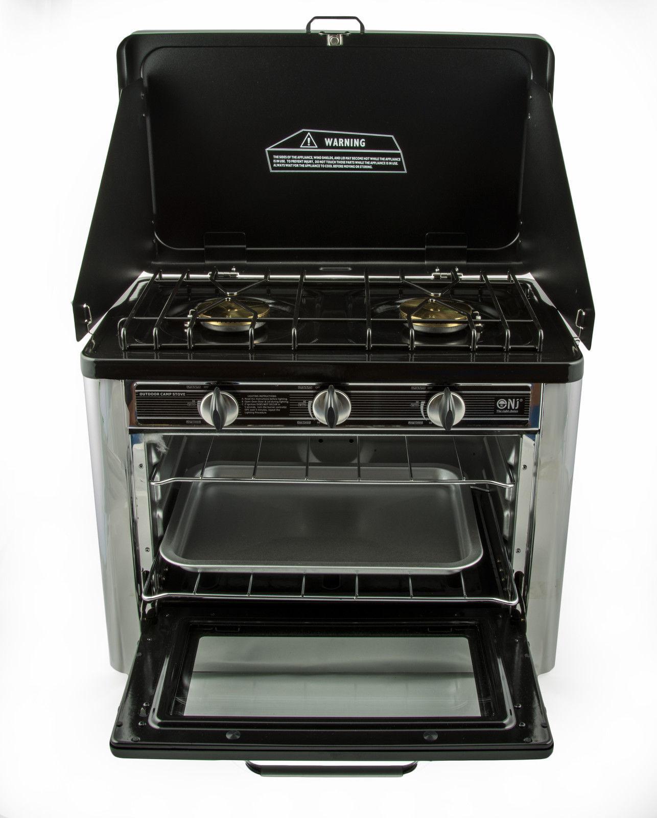 gaskocher 2 flammig campingkocher mit backofen mit deckel. Black Bedroom Furniture Sets. Home Design Ideas