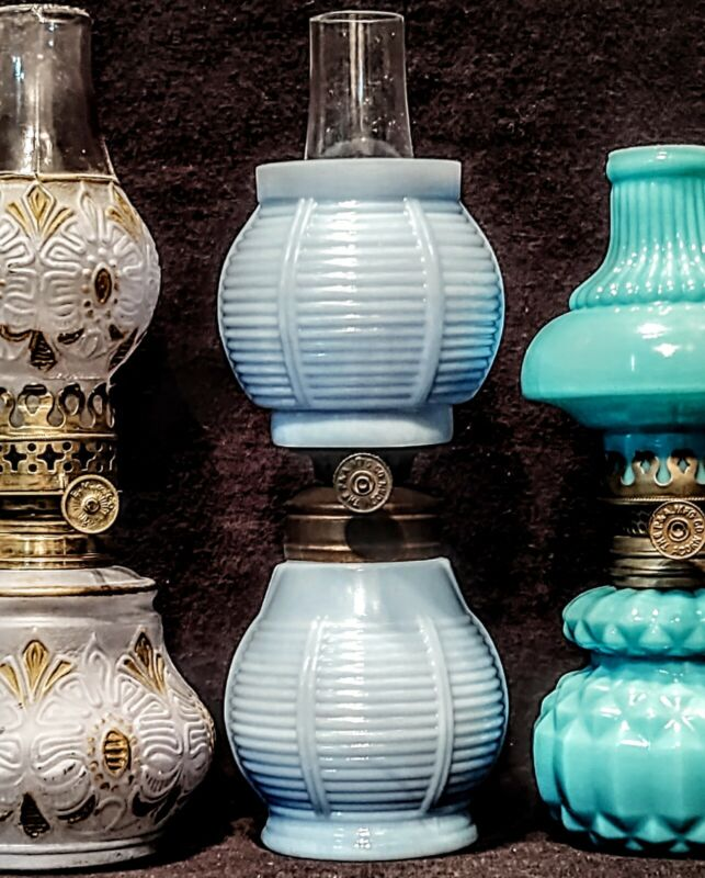 Blue Opague Milk Glass Miniature Oil Lamp, Embossed Ribs, Antique Acorn Burner