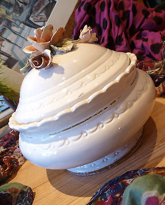 Italian Made White Art Pot with Lid and Decorative 3D Relief Rose Decoration
