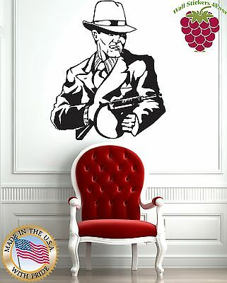 Wall Stickers Vinyl Decal Tommy Gun Gangster Mafia Weapons z1022