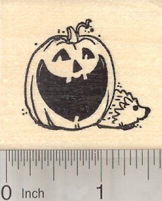 Halloween Hedgehog Rubber Stamp, with Jack-O-Lantern Pumpkin E25618  WM - Halloween Hedgehog