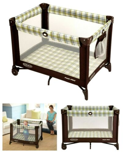 Graco Pack n Play Playard Baby Travel Portable Brown on Go Infant Playpen & Case
