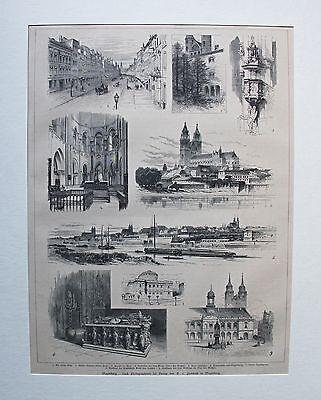 Magdeburg - Dom, Rathaus, neues Stadttheater - Stich, Holzstich von 1880