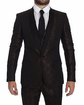 NWT $3600 DOLCE & GABBANA Suit Tuxedo Brown Black Shiny 3 Piece Slim (Dolce & Gabbana Tuxedo)
