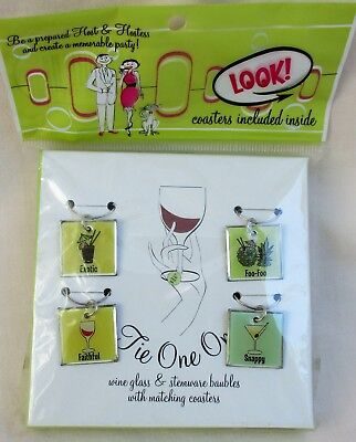 Tie One On Wine Glass Charms & Stemware Baubles w/ Coasters