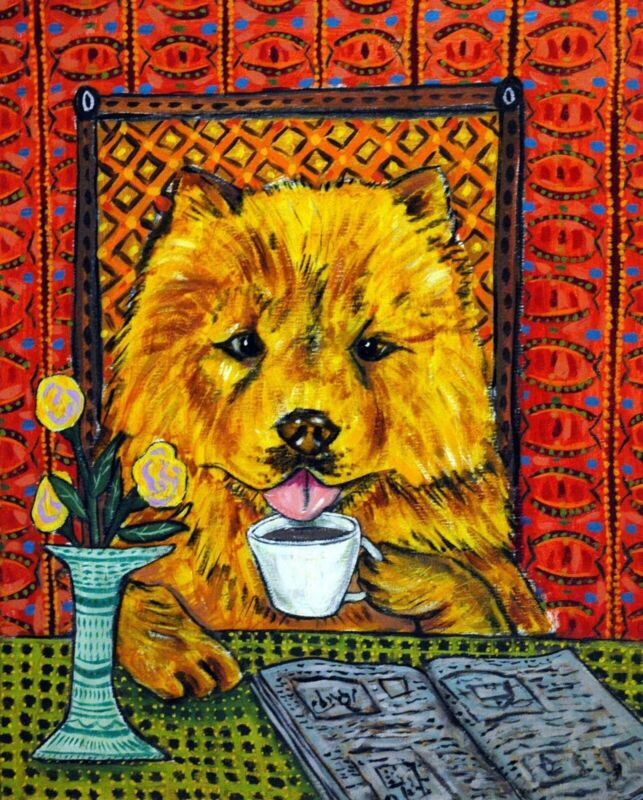Chow Chow coffee shop picture dog art abstract folk pop ART 13x19 animals glossy