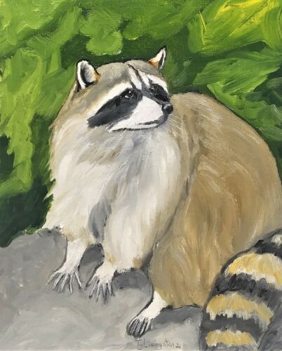 """8""""X 10"""" Original oil Painting of a Raccoon by Ty Livingston"""