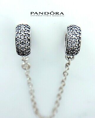 Authentic Pandora  Silver 925 PAVE Inspiration SAFETY CHAIN Charm 791736