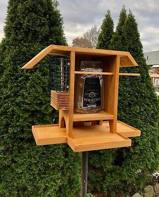 Bottle and Suet Bird-Feeder Made from Cedar Wood