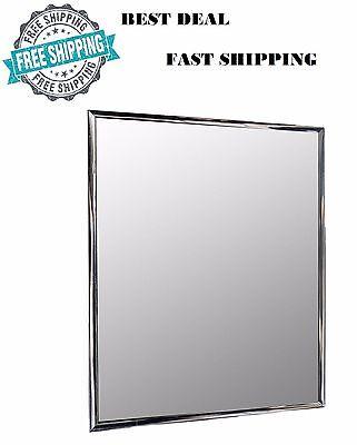 Wall Mounted Small Mirror Modern Silver Framed Lightweight Bathroom 10x12in NEW