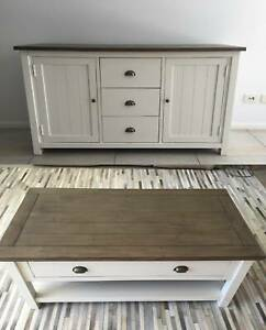 Set of Buffet / TV Unit and Coffee Table - Hamptons Style