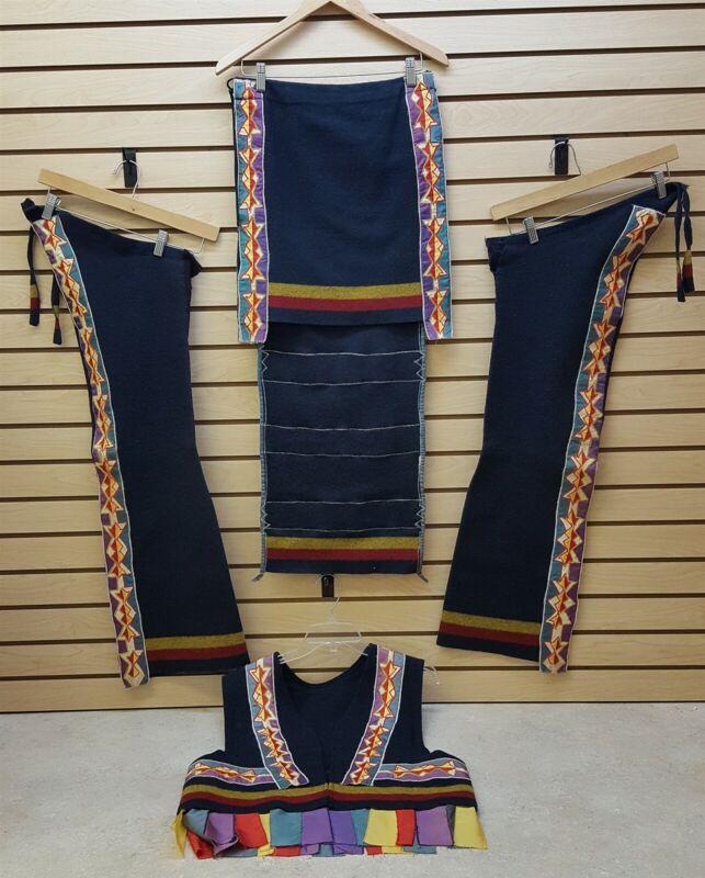 BROADCLOTH RIBBONWORK NATIVE AMERICAN INDIAN VEST,LEGGINGS & APRON SET W/TRAILER