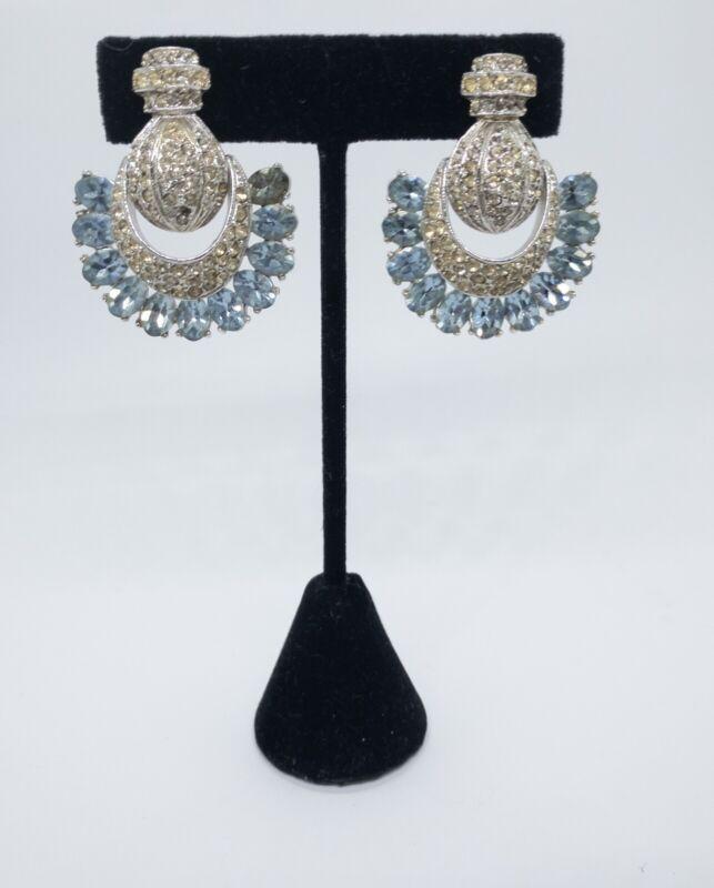 Bellini Clip Earrings Vintage Art Deco Rhinestone Fan Blue Clear