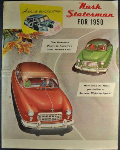 1950 Nash Statesman Large Brochure Folder Coupe Airflyte Sedan Nice Original 50