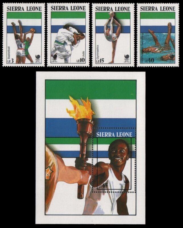 Sierra Leone 1988 - Mi-Nr. 1092-1095 & Block 77 ** - MNH - Olympia Seoul