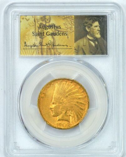 PCGS CAC 1908-D VF35 $10 Gold Indian in Augustus Saint Gaudens Holder