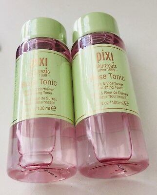 PIXI ROSE TONIC ~ ROSE & ELDERFLOWER ~ 2 x 100ml bottles ~ BRAND NEW SEALED ~
