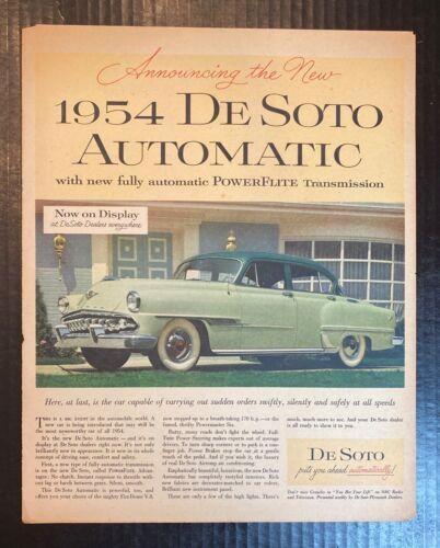 Vintage Full Page Magazine Ad for 1954 De Soto Automobile V8 170HP