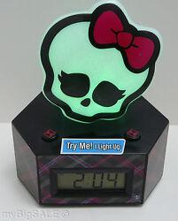 Monster High Skullette Alarm Clock Color Change Night Light LCD Display Ghoul