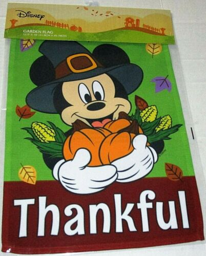 "DISNEY THANKSGIVING GARDEN FLAG 12.5""x 18"" MICKEY MOUSE/THANKFUL"