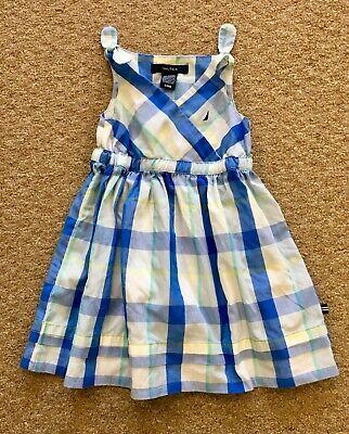 Nautica Infant Toddler Girls Dress Blue Plaid Shoulder Ties Sleeveless Size 24M