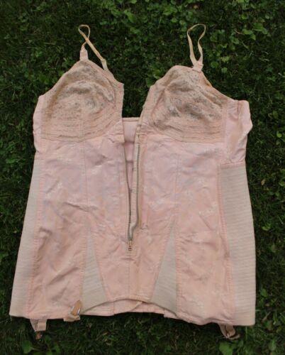Vintage 1940s Pink Corset Boning Bra Girdle Larger Size #4